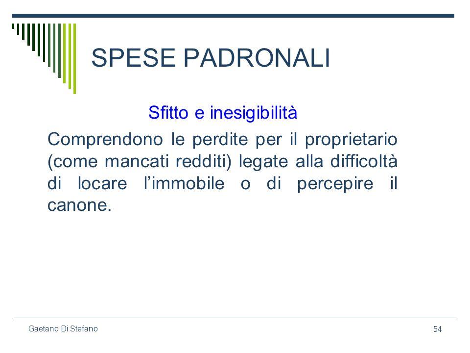 54 Gaetano Di Stefano SPESE PADRONALI Sfitto e inesigibilità Comprendono le perdite per il proprietario (come mancati redditi) legate alla difficoltà