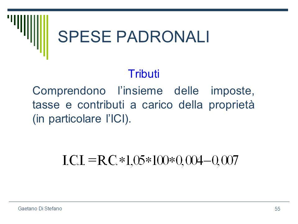 55 Gaetano Di Stefano SPESE PADRONALI Tributi Comprendono linsieme delle imposte, tasse e contributi a carico della proprietà (in particolare lICI).