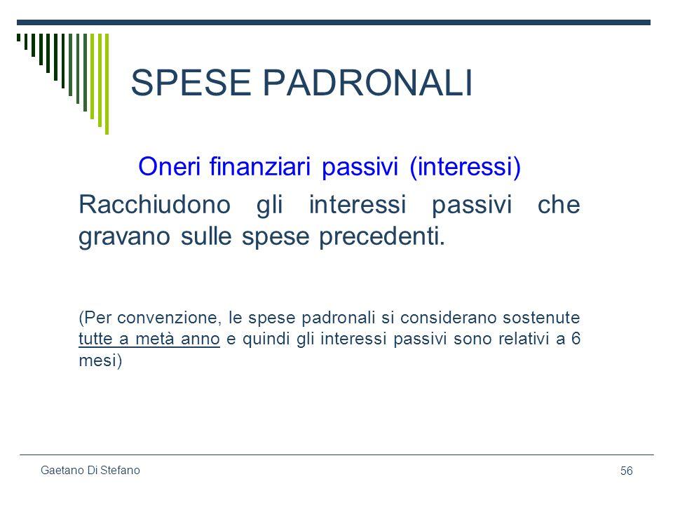 56 Gaetano Di Stefano SPESE PADRONALI Oneri finanziari passivi (interessi) Racchiudono gli interessi passivi che gravano sulle spese precedenti. (Per