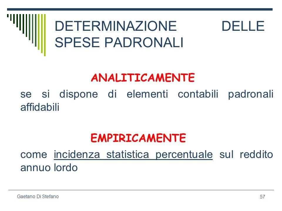 57 Gaetano Di Stefano DETERMINAZIONE DELLE SPESE PADRONALI ANALITICAMENTE se si dispone di elementi contabili padronali affidabili EMPIRICAMENTE come