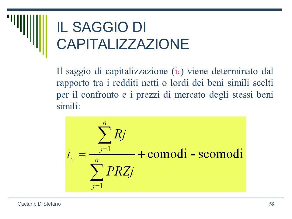 59 Gaetano Di Stefano IL SAGGIO DI CAPITALIZZAZIONE Il saggio di capitalizzazione (i c ) viene determinato dal rapporto tra i redditi netti o lordi de
