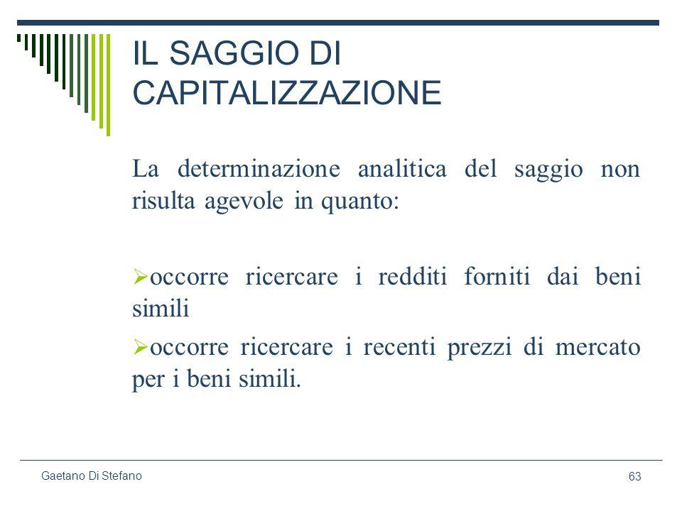 63 Gaetano Di Stefano IL SAGGIO DI CAPITALIZZAZIONE La determinazione analitica del saggio non risulta agevole in quanto: occorre ricercare i redditi