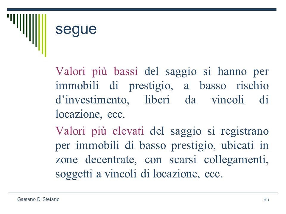 65 Gaetano Di Stefano segue Valori più bassi del saggio si hanno per immobili di prestigio, a basso rischio dinvestimento, liberi da vincoli di locazi