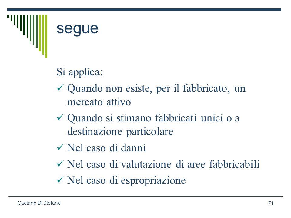 71 Gaetano Di Stefano segue Si applica: Quando non esiste, per il fabbricato, un mercato attivo Quando si stimano fabbricati unici o a destinazione pa