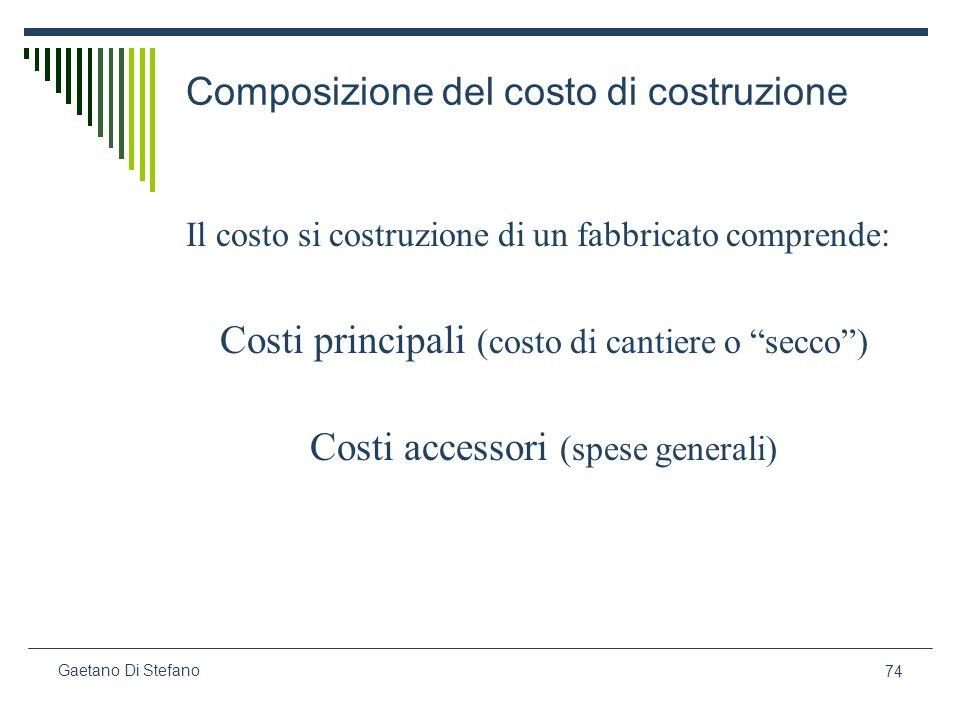 74 Gaetano Di Stefano Composizione del costo di costruzione Il costo si costruzione di un fabbricato comprende: Costi principali (costo di cantiere o