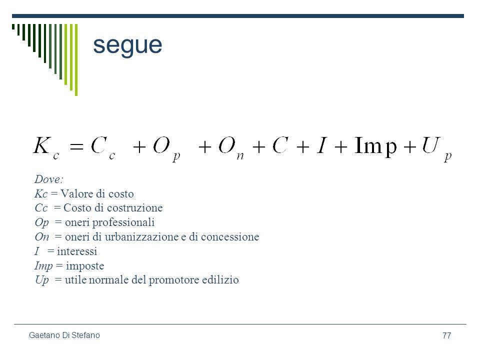 77 Gaetano Di Stefano segue Dove: Kc = Valore di costo Cc = Costo di costruzione Op = oneri professionali On = oneri di urbanizzazione e di concession