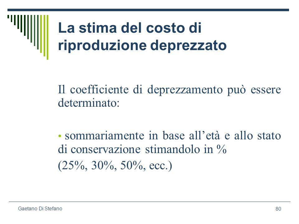 80 Gaetano Di Stefano La stima del costo di riproduzione deprezzato Il coefficiente di deprezzamento può essere determinato: sommariamente in base all