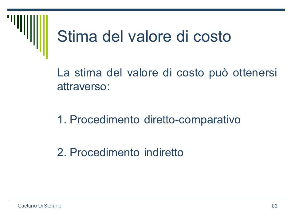 83 Gaetano Di Stefano Stima del valore di costo La stima del valore di costo può ottenersi attraverso: 1. Procedimento diretto-comparativo 2. Procedim