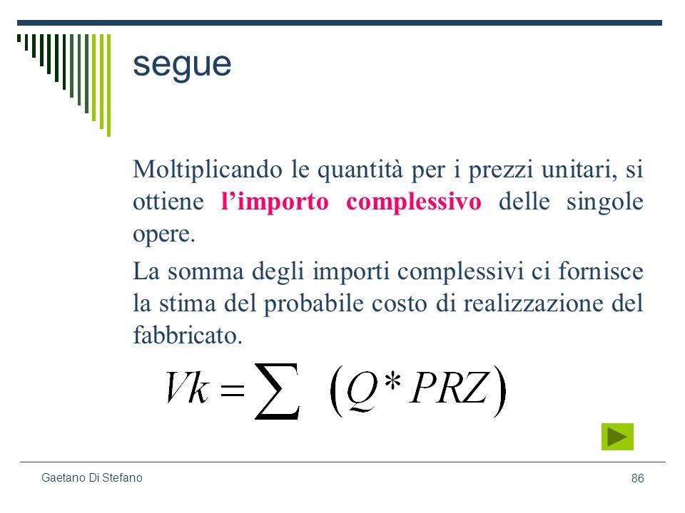 86 Gaetano Di Stefano segue Moltiplicando le quantità per i prezzi unitari, si ottiene limporto complessivo delle singole opere. La somma degli import