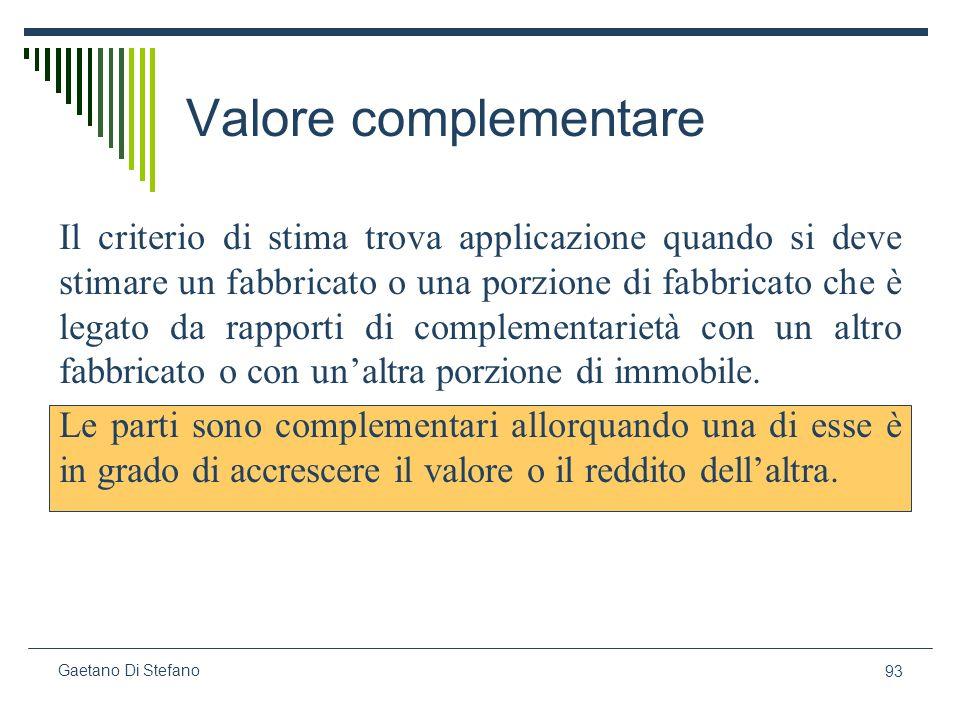 93 Gaetano Di Stefano Valore complementare Il criterio di stima trova applicazione quando si deve stimare un fabbricato o una porzione di fabbricato c