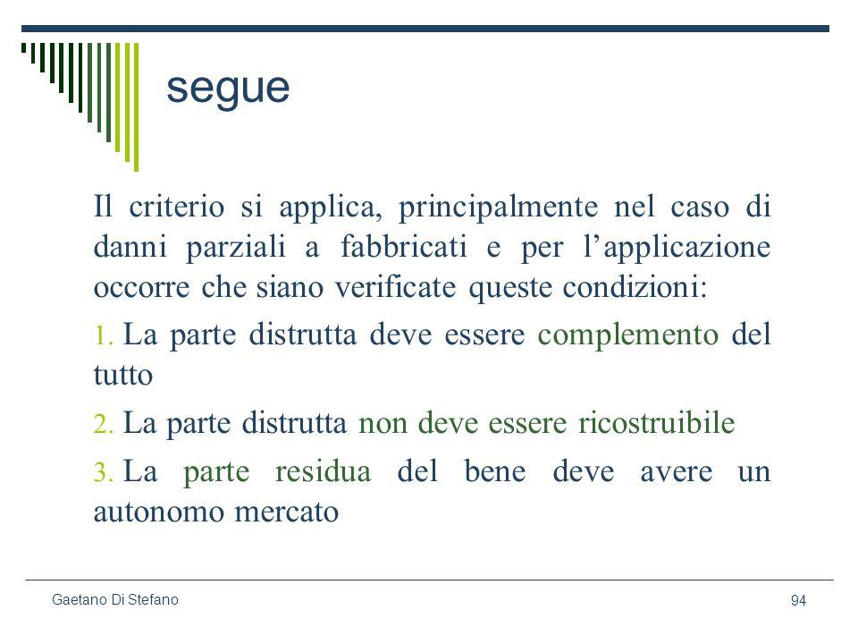 94 Gaetano Di Stefano segue Il criterio si applica, principalmente nel caso di danni parziali a fabbricati e per lapplicazione occorre che siano verif