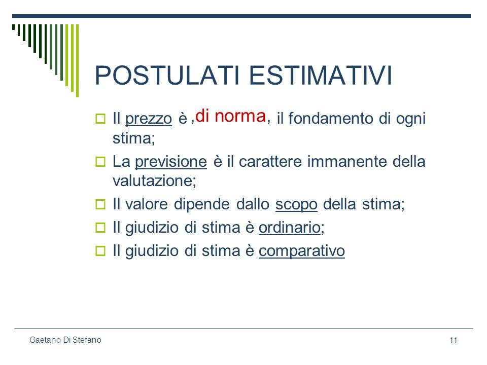 11 Gaetano Di Stefano POSTULATI ESTIMATIVI Il prezzo è il fondamento di ogni stima; La previsione è il carattere immanente della valutazione; Il valor