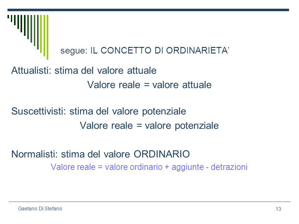 13 Gaetano Di Stefano segue: IL CONCETTO DI ORDINARIETA Attualisti: stima del valore attuale Valore reale = valore attuale Suscettivisti: stima del va