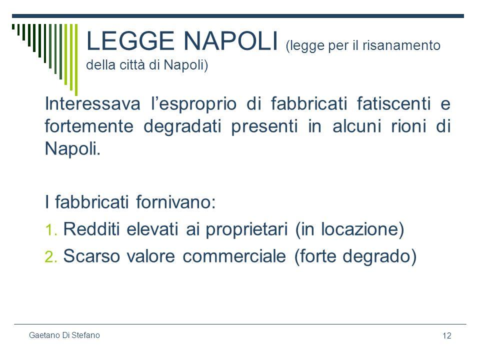 12 Gaetano Di Stefano LEGGE NAPOLI (legge per il risanamento della città di Napoli) Interessava lesproprio di fabbricati fatiscenti e fortemente degra