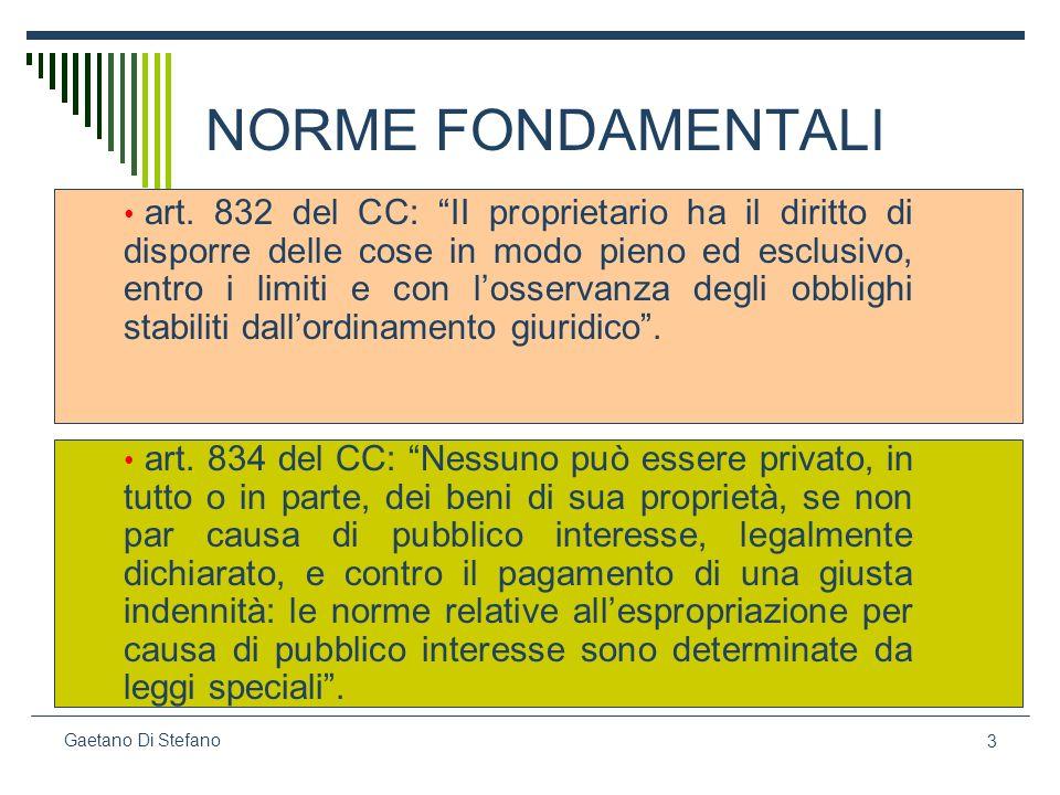 3 Gaetano Di Stefano NORME FONDAMENTALI art. 832 del CC: II proprietario ha il diritto di disporre delle cose in modo pieno ed esclusivo, entro i limi