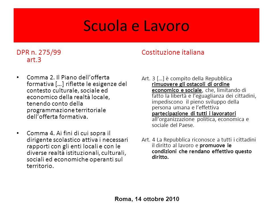 Formazione Lavoro Apprendimento Roma, 14 ottobre 2010