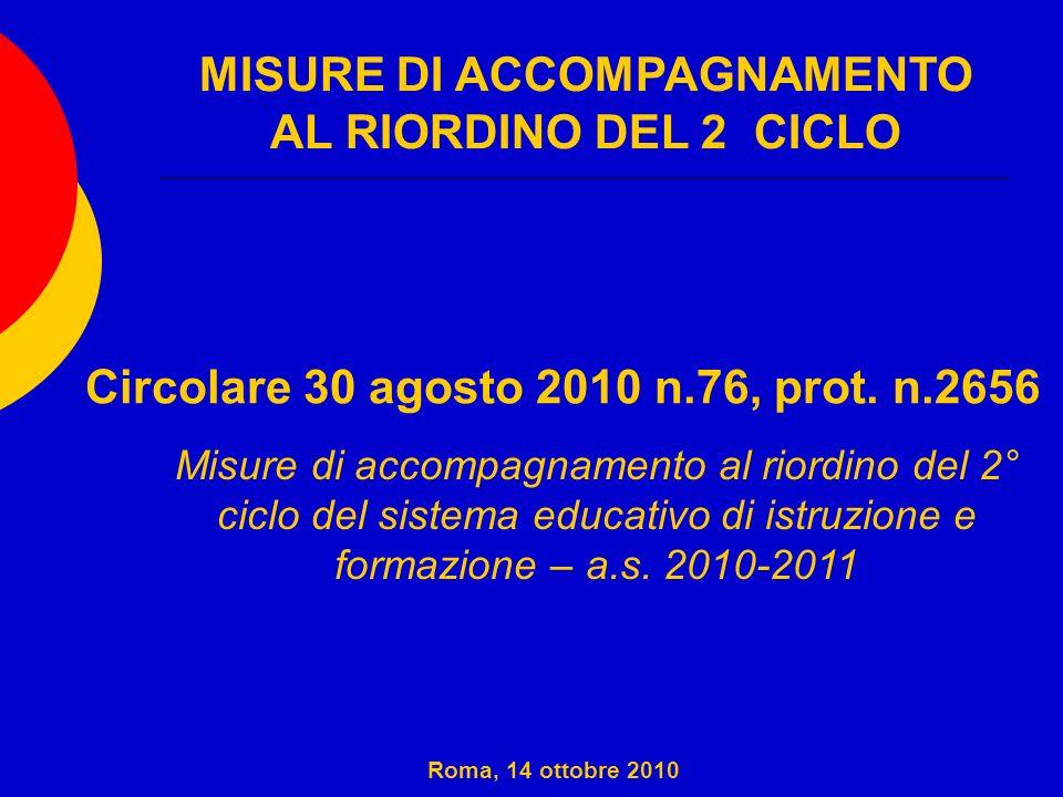 Per quanto riguarda la progressiva applicazione dei nuovi ordinamenti della scuola secondaria superiore hanno un ruolo di promozione, di sostegno, di monitoraggio, di controllo e di verifica sui territori di competenza Roma, 14 ottobre 2010 Uffici Scolastici Regionali