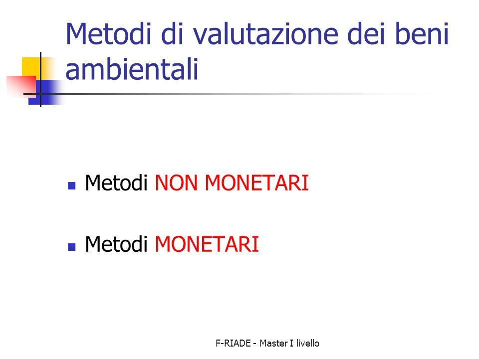 F-RIADE - Master I livello Metodi di valutazione dei beni ambientali Metodi NON MONETARI Metodi MONETARI