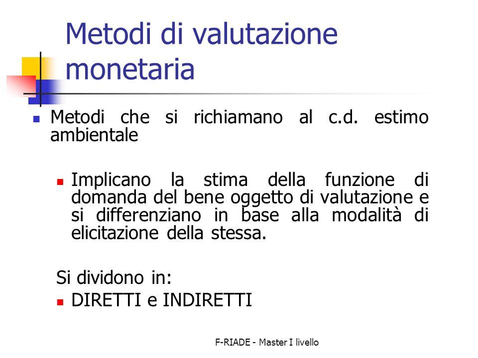 F-RIADE - Master I livello Metodi di valutazione monetaria Metodi che si richiamano al c.d.