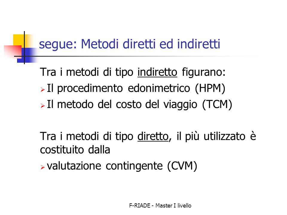 F-RIADE - Master I livello segue: Metodi diretti ed indiretti Tra i metodi di tipo indiretto figurano: Il procedimento edonimetrico (HPM) Il metodo del costo del viaggio (TCM) Tra i metodi di tipo diretto, il più utilizzato è costituito dalla valutazione contingente (CVM)