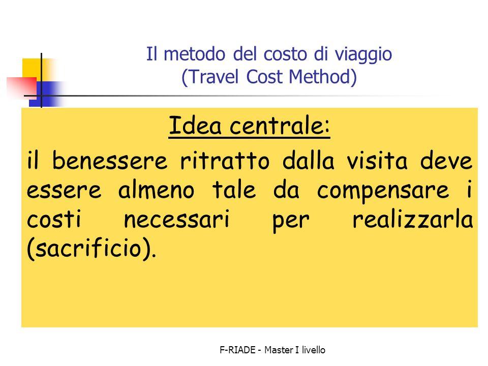F-RIADE - Master I livello Il metodo del costo di viaggio (Travel Cost Method) Idea centrale: il benessere ritratto dalla visita deve essere almeno tale da compensare i costi necessari per realizzarla (sacrificio).