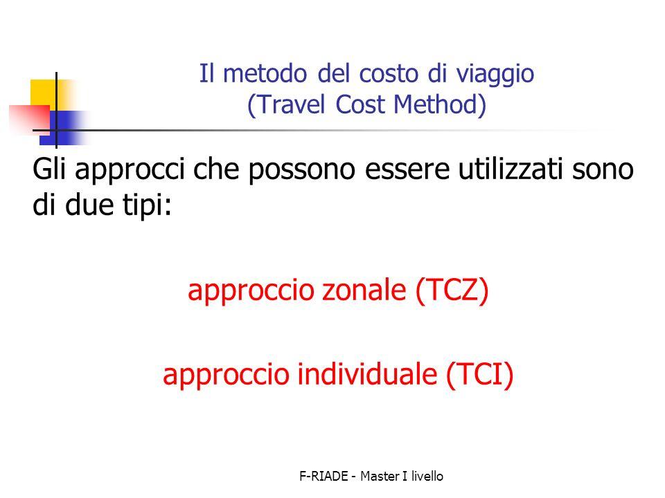 F-RIADE - Master I livello Il metodo del costo di viaggio (Travel Cost Method) Gli approcci che possono essere utilizzati sono di due tipi: approccio zonale (TCZ) approccio individuale (TCI)