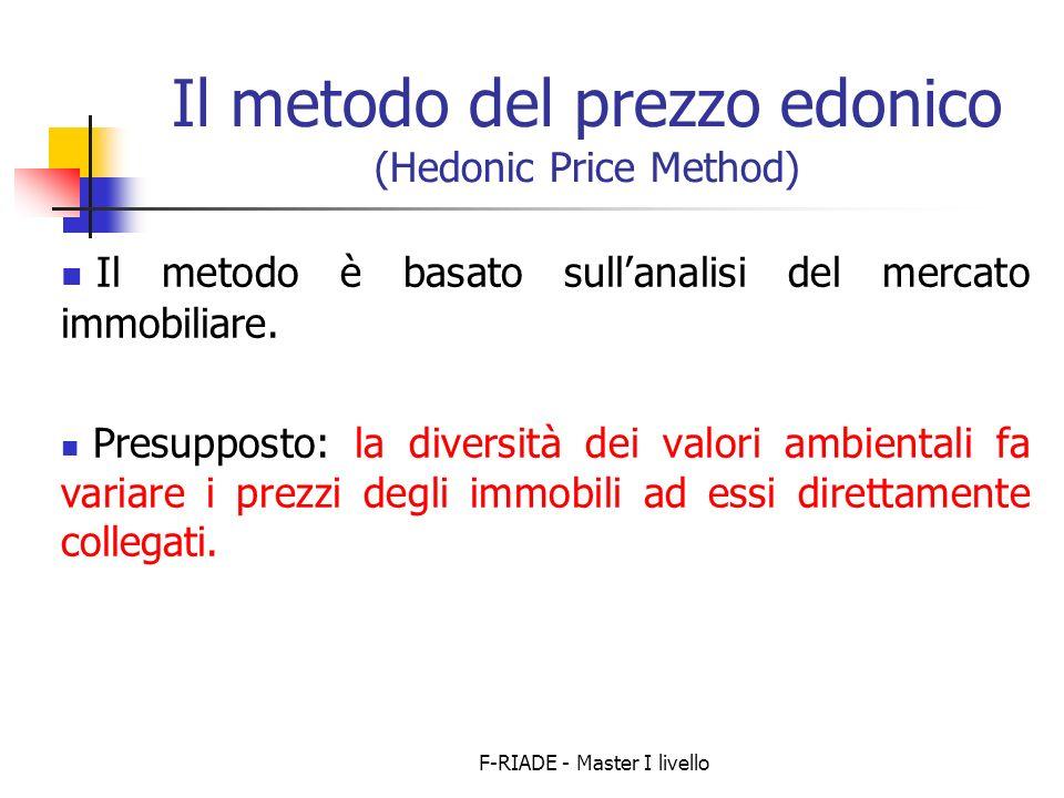 F-RIADE - Master I livello Il metodo del prezzo edonico (Hedonic Price Method) Il metodo è basato sullanalisi del mercato immobiliare.