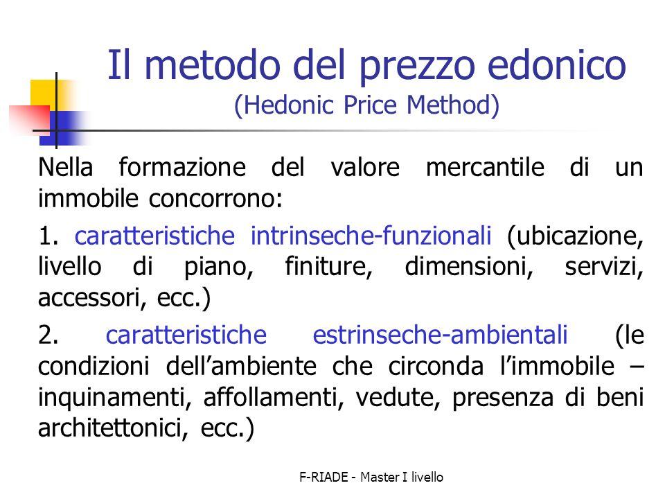 F-RIADE - Master I livello Il metodo del prezzo edonico (Hedonic Price Method) Nella formazione del valore mercantile di un immobile concorrono: 1.