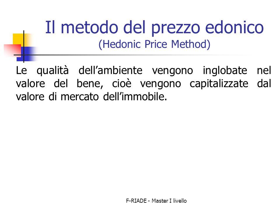 F-RIADE - Master I livello Il metodo del prezzo edonico (Hedonic Price Method) Le qualità dellambiente vengono inglobate nel valore del bene, cioè vengono capitalizzate dal valore di mercato dellimmobile.