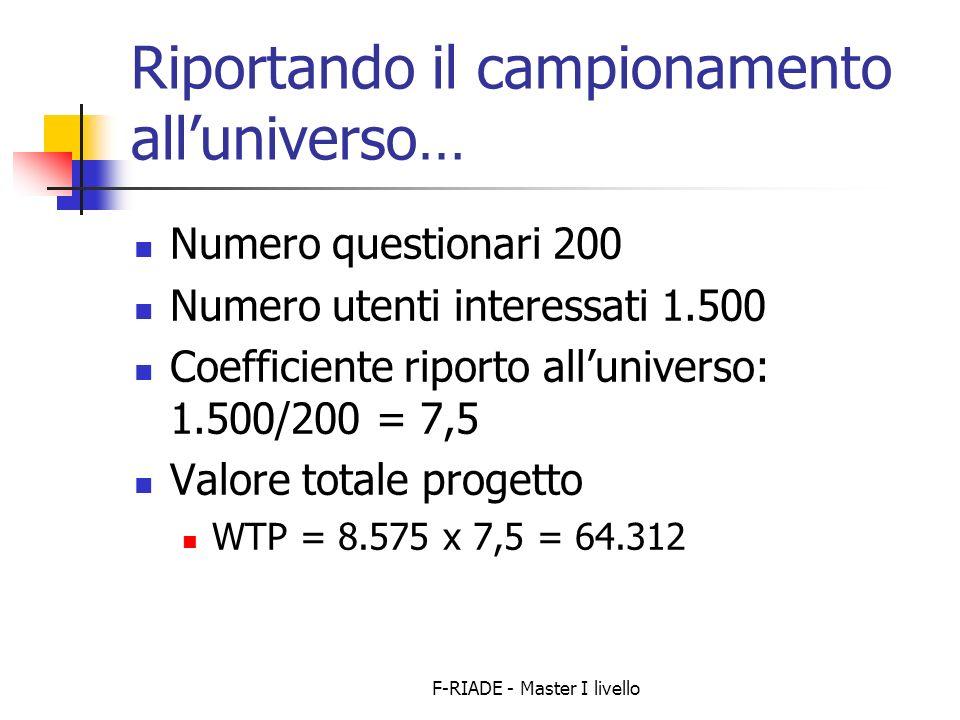 F-RIADE - Master I livello Riportando il campionamento alluniverso… Numero questionari 200 Numero utenti interessati 1.500 Coefficiente riporto alluniverso: 1.500/200 = 7,5 Valore totale progetto WTP = 8.575 x 7,5 = 64.312