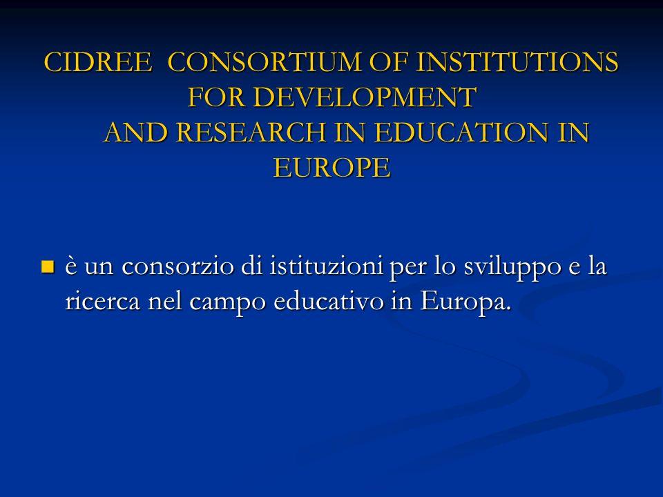 CIDREE CONSORTIUM OF INSTITUTIONS FOR DEVELOPMENT AND RESEARCH IN EDUCATION IN EUROPE è un consorzio di istituzioni per lo sviluppo e la ricerca nel campo educativo in Europa.