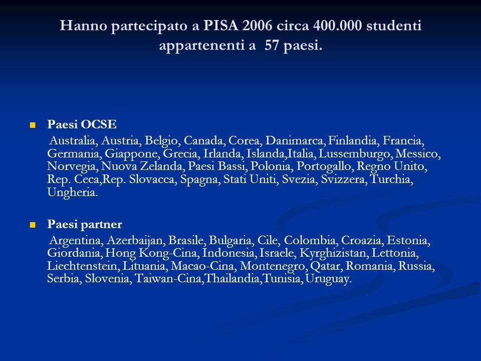 Hanno partecipato a PISA 2006 circa 400.000 studenti appartenenti a 57 paesi.