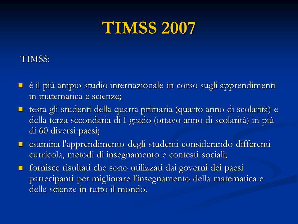 TIMSS 2007 TIMSS: TIMSS: è il più ampio studio internazionale in corso sugli apprendimenti in matematica e scienze; è il più ampio studio internazionale in corso sugli apprendimenti in matematica e scienze; testa gli studenti della quarta primaria (quarto anno di scolarità) e della terza secondaria di I grado (ottavo anno di scolarità) in più di 60 diversi paesi; testa gli studenti della quarta primaria (quarto anno di scolarità) e della terza secondaria di I grado (ottavo anno di scolarità) in più di 60 diversi paesi; esamina l apprendimento degli studenti considerando differenti curricola, metodi di insegnamento e contesti sociali; esamina l apprendimento degli studenti considerando differenti curricola, metodi di insegnamento e contesti sociali; fornisce risultati che sono utilizzati dai governi dei paesi partecipanti per migliorare l insegnamento della matematica e delle scienze in tutto il mondo.