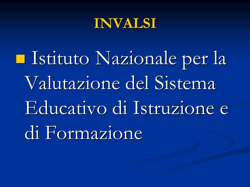 INVALSI Istituto Nazionale per la Valutazione del Sistema Educativo di Istruzione e di Formazione Istituto Nazionale per la Valutazione del Sistema Educativo di Istruzione e di Formazione
