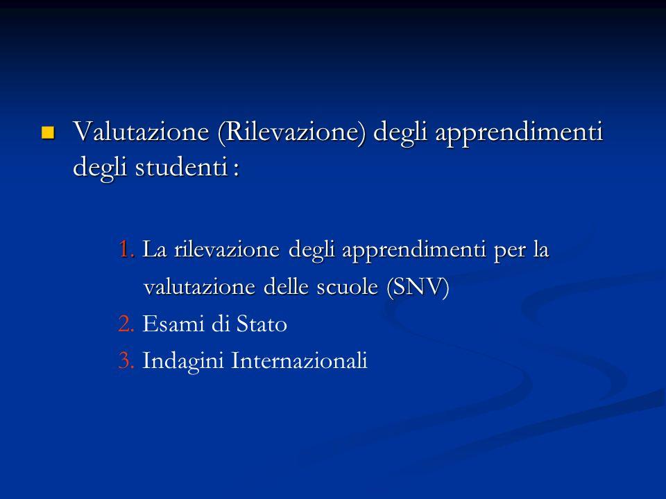Valutazione (Rilevazione) degli apprendimenti degli studenti : Valutazione (Rilevazione) degli apprendimenti degli studenti : 1.