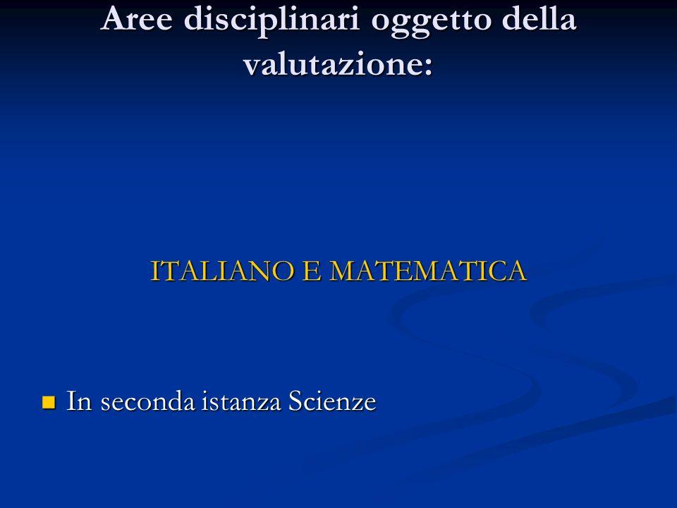 Aree disciplinari oggetto della valutazione: ITALIANO E MATEMATICA In seconda istanza Scienze In seconda istanza Scienze