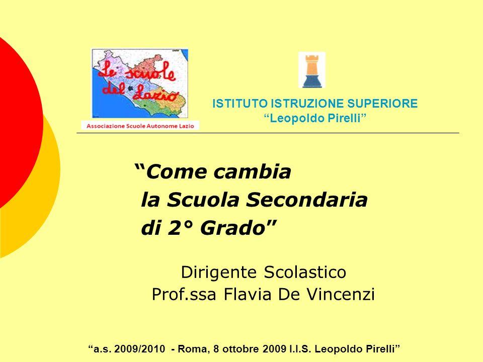 Come cambia la Scuola Secondaria di 2° Grado Dirigente Scolastico Prof.ssa Flavia De Vincenzi a.s. 2009/2010 - Roma, 8 ottobre 2009 I.I.S. Leopoldo Pi