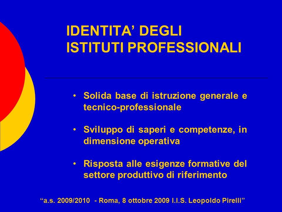 IDENTITA DEGLI ISTITUTI PROFESSIONALI Solida base di istruzione generale e tecnico-professionale Sviluppo di saperi e competenze, in dimensione operat