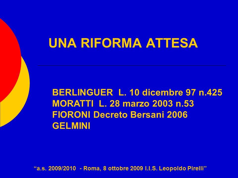 UNA RIFORMA ATTESA a.s. 2009/2010 - Roma, 8 ottobre 2009 I.I.S. Leopoldo Pirelli BERLINGUER L. 10 dicembre 97 n.425 MORATTI L. 28 marzo 2003 n.53 FIOR