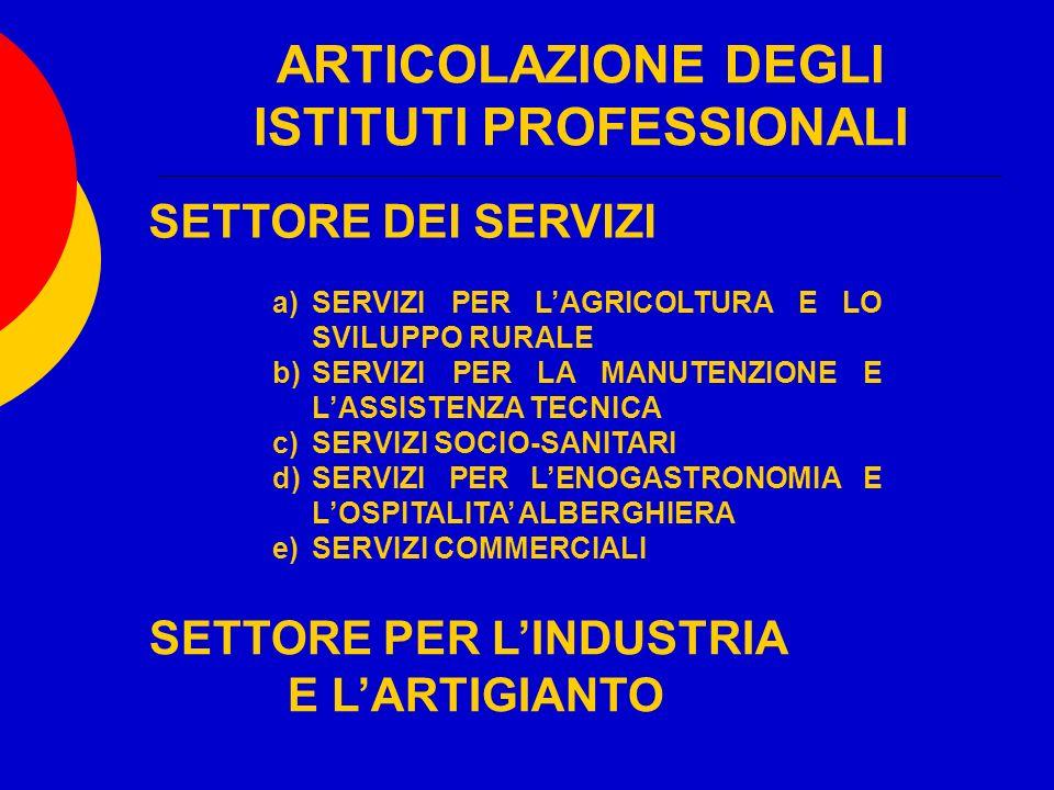 ARTICOLAZIONE DEGLI ISTITUTI PROFESSIONALI SETTORE DEI SERVIZI a)SERVIZI PER LAGRICOLTURA E LO SVILUPPO RURALE b)SERVIZI PER LA MANUTENZIONE E LASSISTENZA TECNICA c)SERVIZI SOCIO-SANITARI d)SERVIZI PER LENOGASTRONOMIA E LOSPITALITA ALBERGHIERA e)SERVIZI COMMERCIALI SETTORE PER LINDUSTRIA E LARTIGIANTO