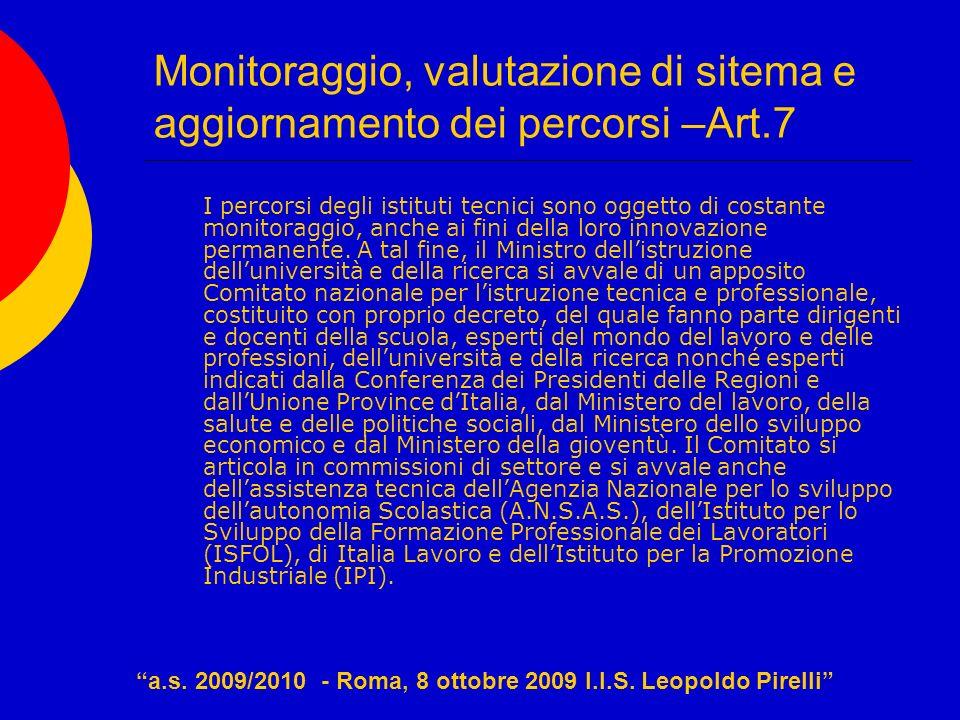 Monitoraggio, valutazione di sitema e aggiornamento dei percorsi –Art.7 I percorsi degli istituti tecnici sono oggetto di costante monitoraggio, anche