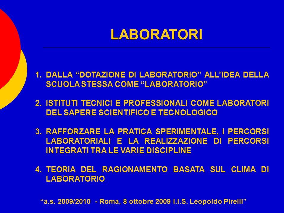 LABORATORI 1.DALLA DOTAZIONE DI LABORATORIO ALLIDEA DELLA SCUOLA STESSA COME LABORATORIO 2.ISTITUTI TECNICI E PROFESSIONALI COME LABORATORI DEL SAPERE SCIENTIFICO E TECNOLOGICO 3.RAFFORZARE LA PRATICA SPERIMENTALE, I PERCORSI LABORATORIALI E LA REALIZZAZIONE DI PERCORSI INTEGRATI TRA LE VARIE DISCIPLINE 4.TEORIA DEL RAGIONAMENTO BASATA SUL CLIMA DI LABORATORIO a.s.