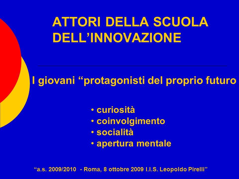 ATTORI DELLA SCUOLA DELLINNOVAZIONE a.s. 2009/2010 - Roma, 8 ottobre 2009 I.I.S. Leopoldo Pirelli I giovani protagonisti del proprio futuro curiosità