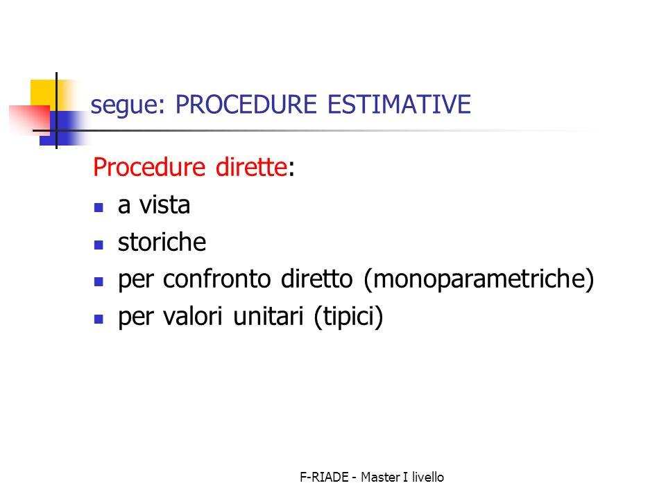 F-RIADE - Master I livello segue: PROCEDURE ESTIMATIVE Procedure dirette: a vista storiche per confronto diretto (monoparametriche) per valori unitari
