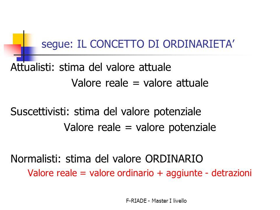F-RIADE - Master I livello segue: IL CONCETTO DI ORDINARIETA Attualisti: stima del valore attuale Valore reale = valore attuale Suscettivisti: stima d