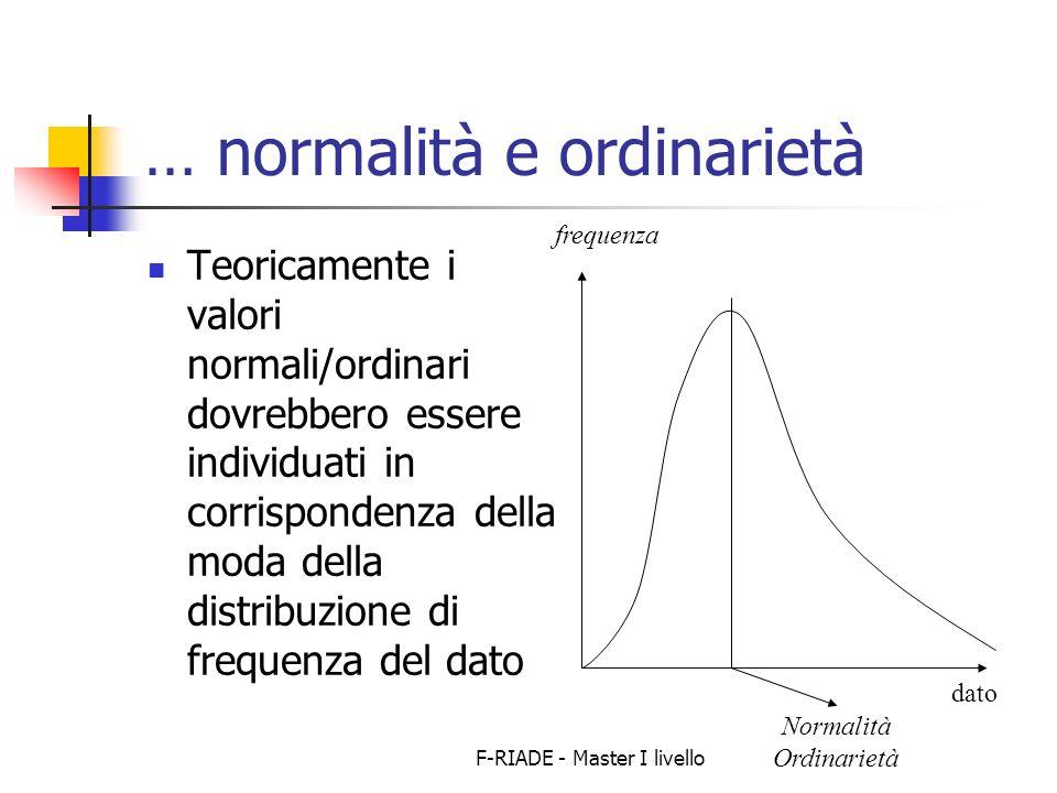 F-RIADE - Master I livello … normalità e ordinarietà Teoricamente i valori normali/ordinari dovrebbero essere individuati in corrispondenza della moda