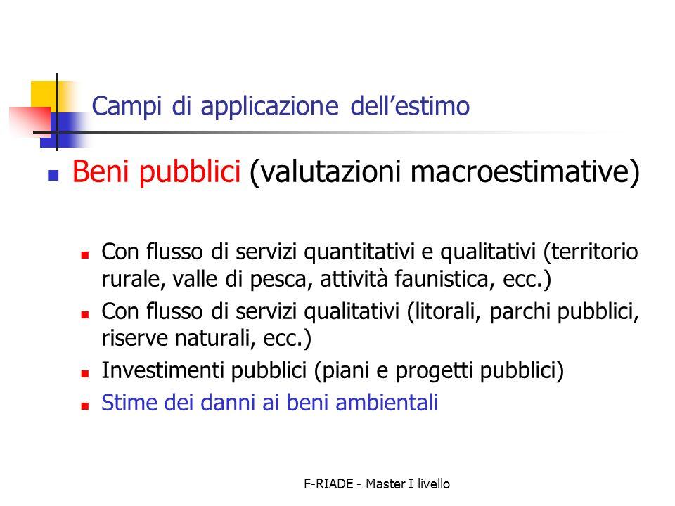 F-RIADE - Master I livello Campi di applicazione dellestimo Beni pubblici (valutazioni macroestimative) Con flusso di servizi quantitativi e qualitati
