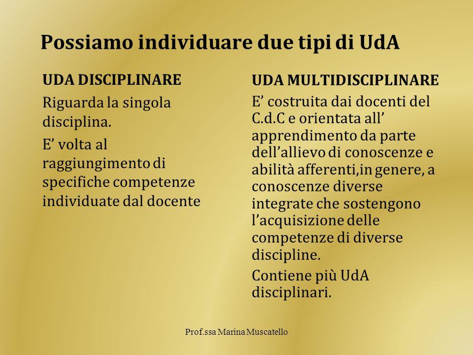 Possiamo individuare due tipi di UdA UDA DISCIPLINARE Riguarda la singola disciplina. E volta al raggiungimento di specifiche competenze individuate d
