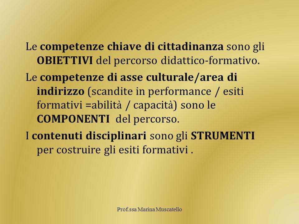 Le competenze chiave di cittadinanza sono gli OBIETTIVI del percorso didattico-formativo. Le competenze di asse culturale/area di indirizzo (scandite