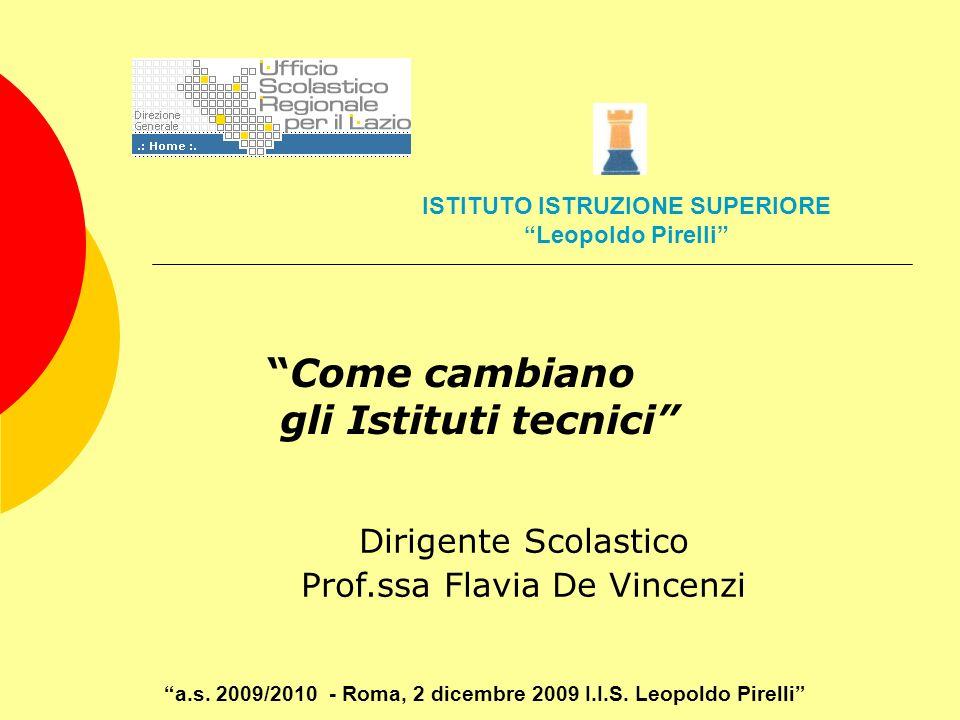 Come cambiano gli Istituti tecnici Dirigente Scolastico Prof.ssa Flavia De Vincenzi a.s. 2009/2010 - Roma, 2 dicembre 2009 I.I.S. Leopoldo Pirelli IST